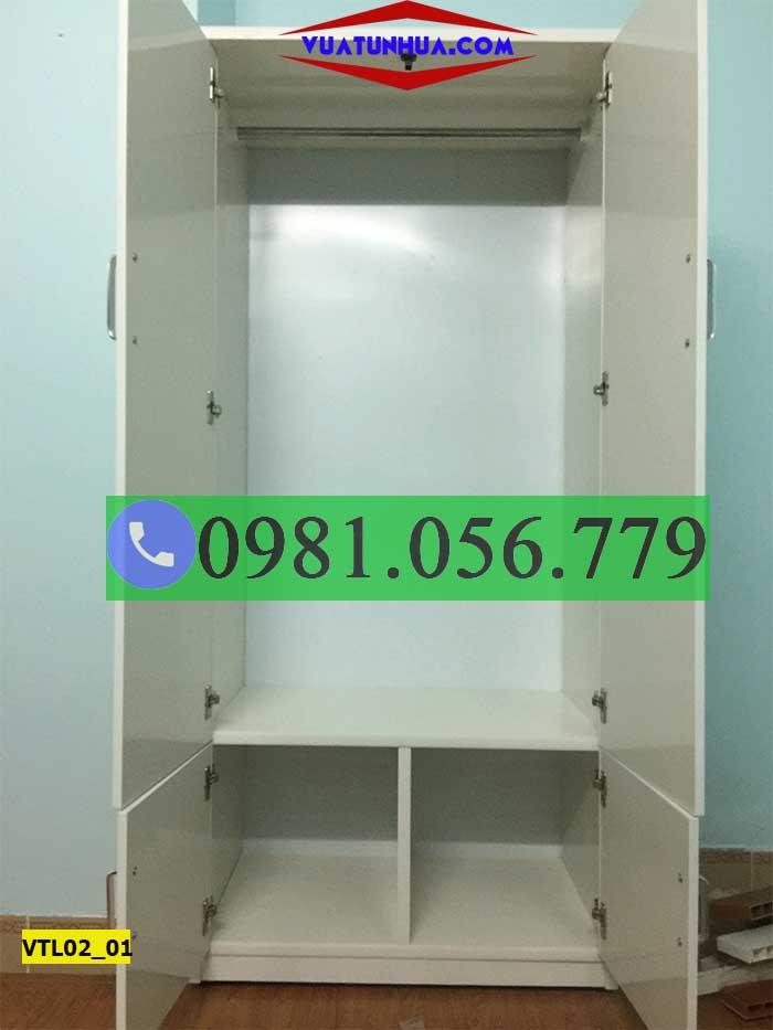 Tủ nhựa đựng quần áo 2 cánh 2 hộc VTL02_01