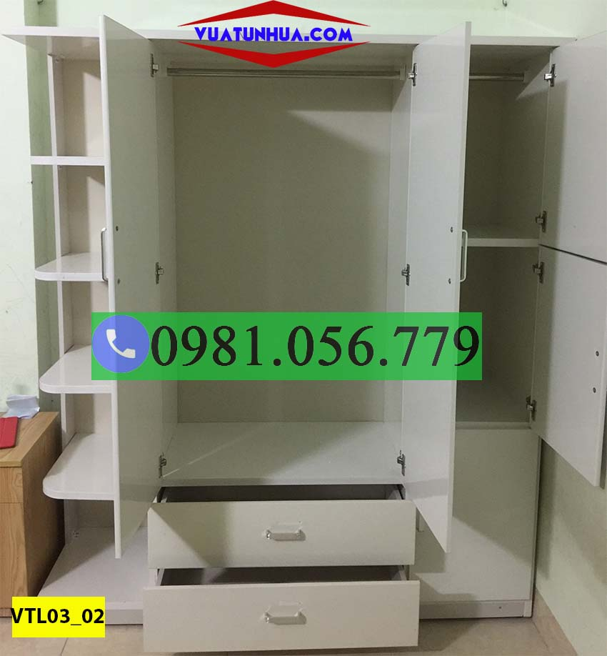 Tủ nhựa đựng quần áo 3 cánh đa năng VTL03_02