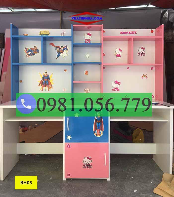Bàn học đôi nhựa Đài Loan cho 2 bé BH03