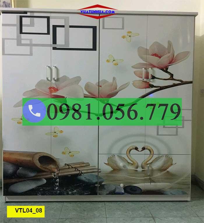 Tủ nhựa Đài Loan 4 cánh, 2 buồng in 3D VTL04_08