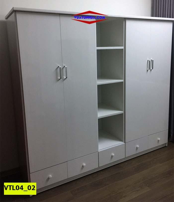 Tủ nhựa Đài Loan 4 cánh 2 buồng siêu hiện đại VTL04_02
