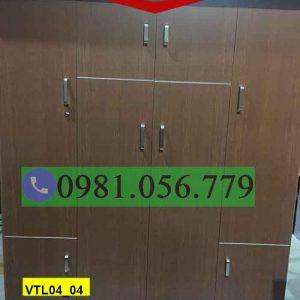 Tủ nhựa đựng quần áo 4 cánh 3 buồng màu nâu VTL04_04