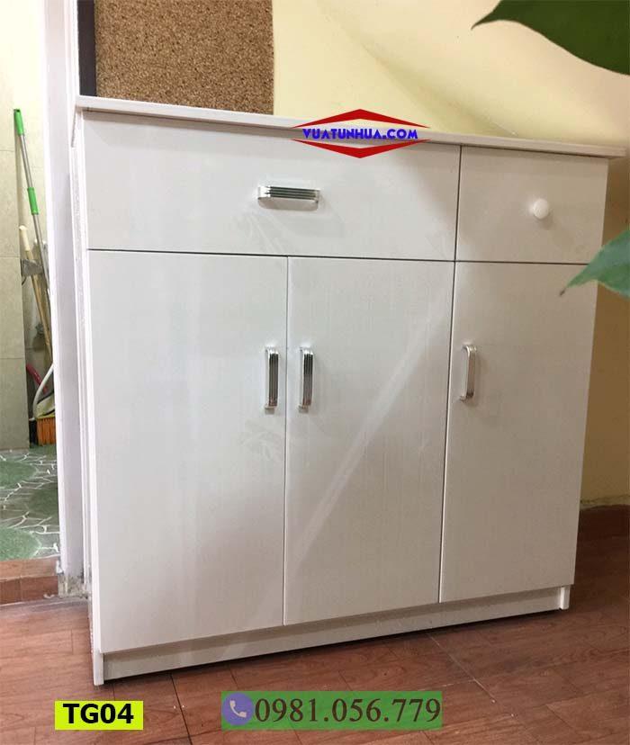 Tủ đựng giầy dép bằng nhựa 3 cánh ngăn kéo có khóa TG04