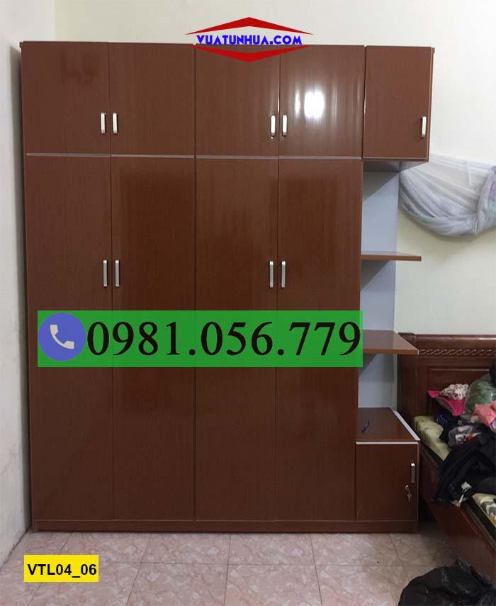 Tủ nhựa quần áo 4 cánh 2 buồng 5 ngăn kéo VTL04_06
