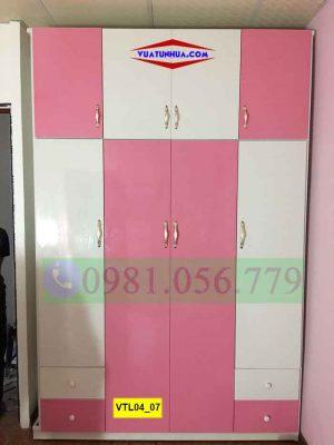 Tủ nhựa Đài Loan 4 cánh 3 buồng nhiều ngăn kéo VTL04_07