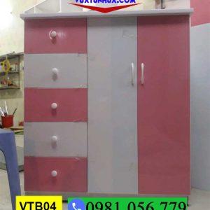 Tủ nhựa đựng quần áo cho bé gái màu hồng trắng VTB04