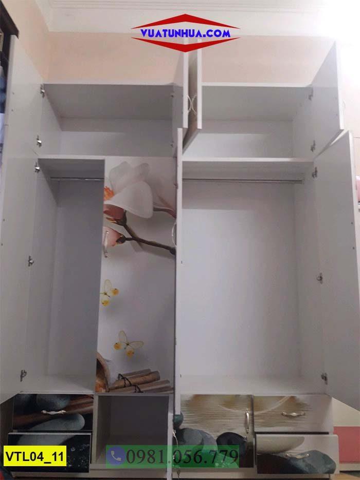 Tủ nhựa đựng quần áo in 3D 4 cánh 2 buồng nhiều ngăn VTL04_11