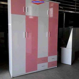 Tủ nhựa đựng quần áo 4 cánh 2 buồng nhiều ngăn kéo VTL04_12