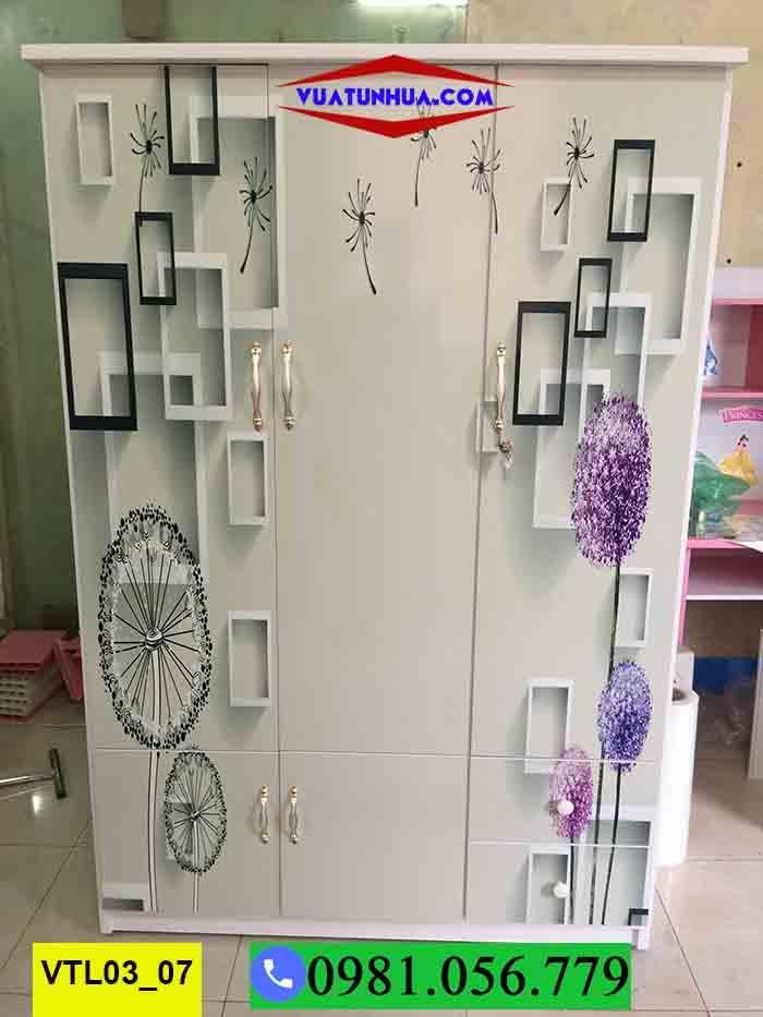 Tủ nhựa đựng quần áo 3 cánh 2 buồng có khóa in 3D VTL03_07