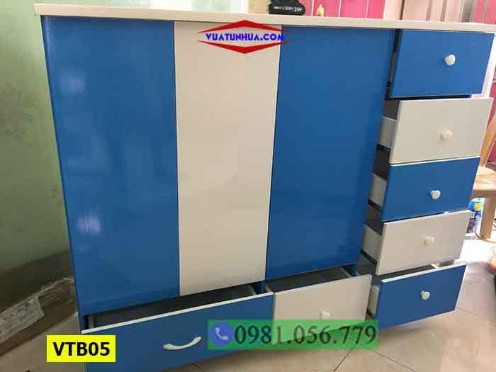 Tủ nhựa Đài Loan 3 cánh 2 buồng cho bé trai VTB05
