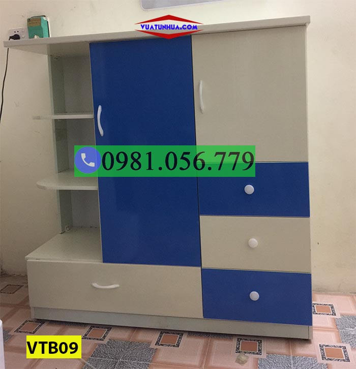 Tủ nhựa đựng quần áo cho bé 2 cánh nhiều ngăn kéo VTB09