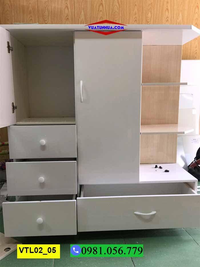 Tủ nhựa đựng quần áo 2 cánh nhiều ngăn VTL02_05