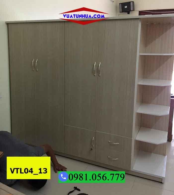 Tủ nhựa 4 cánh 2 buồng 2 ngăn kéo VTL04_13