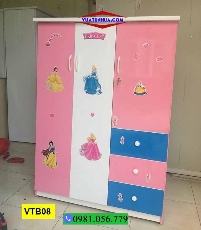 Tủ nhựa đựng quần áo cho bé 3 cánh có ngăn kéo VTB08