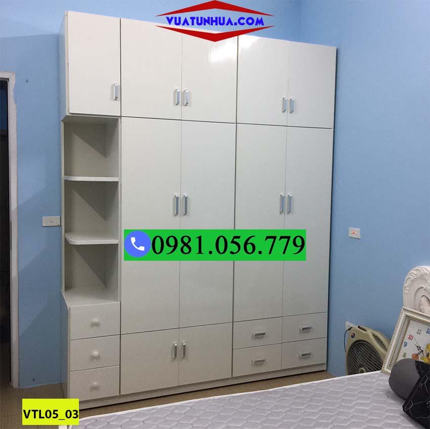 Tủ nhựa đựng quần áo 5 cánh 2 buồng nhiều hốc và ngăn kéo VTL05_03