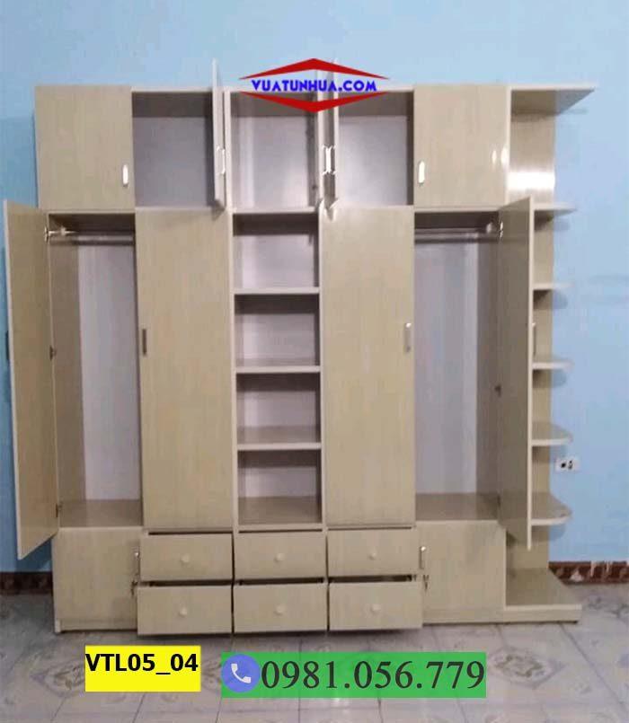 Tủ nhựa đựng quần áo 5 cánh 2 buồng nhiều ngăn kéo VTL05_04