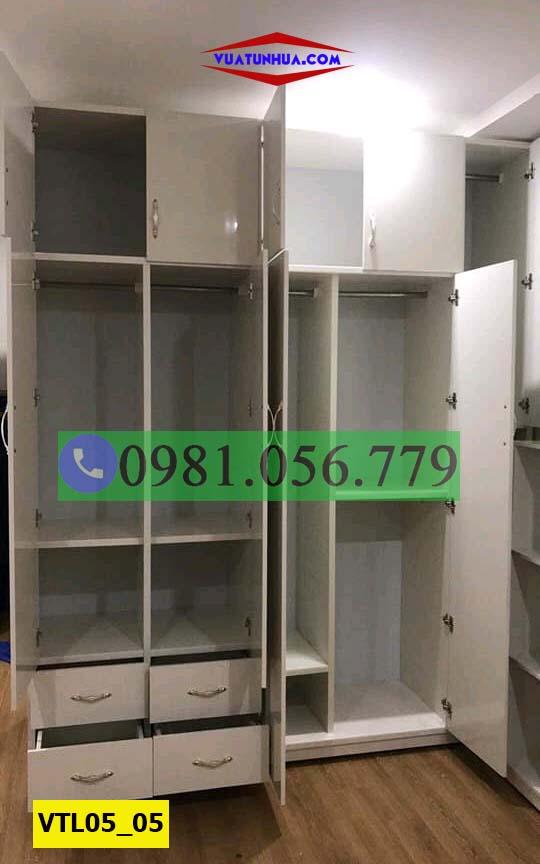 Tủ nhựa đựng quần áo 5 cánh 2 buồng nhiều ngăn kéo VTL05_05