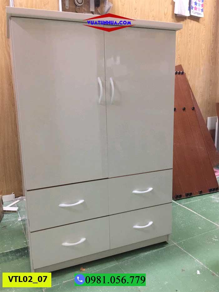Tủ nhựa đựng quần áo 2 cánh nhiều ngăn kéo VTL02_07