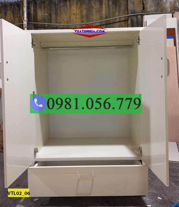 Tủ nhựa đựng quần áo 2 cánh 1 ngăn kéo VTL02_06