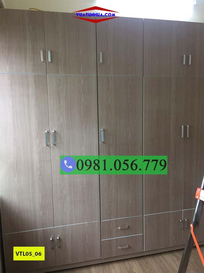 Tủ nhựa đựng quần áo 5 cánh nhiều ngăn kéo VTL05_06