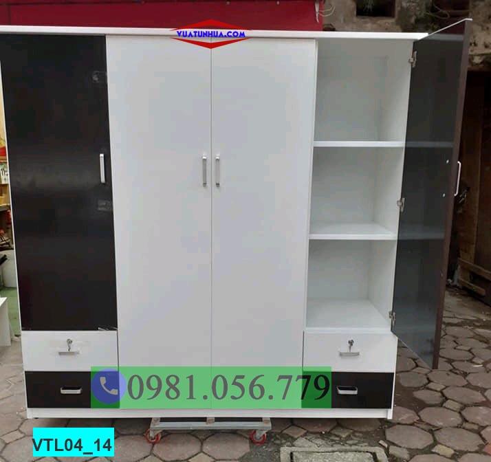Tủ nhựa đựng quần áo 4 cánh nhiều ngăn hiện đại VTL04_14