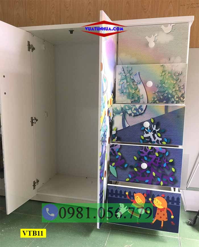 Tủ nhựa đựng quần áo 3D 2 cánh 5 ngăn kéo cho bé VTB11