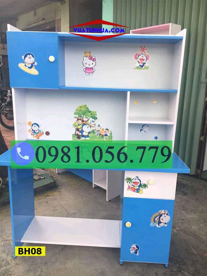 Bàn học nhựa Đài Loan liền giá sách BH08