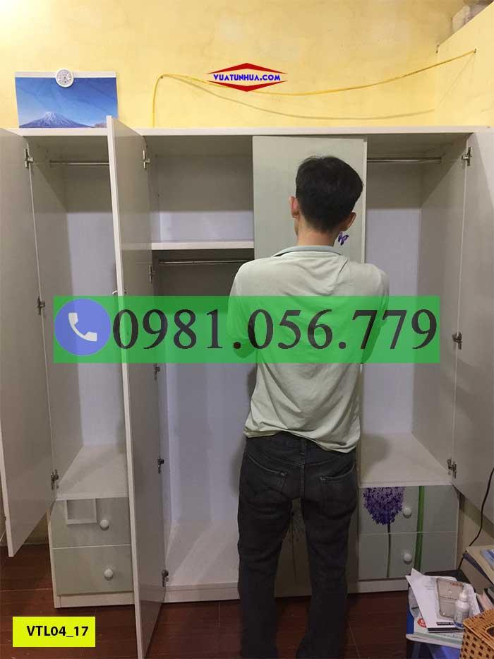 Tủ nhựa đựng quần áo 4 cánh in 3D VTL04_17