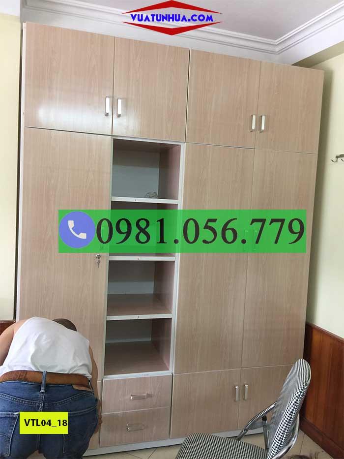 Tủ nhựa đựng quần áo 4 cánh 1 kệ kịch trần VTL04_18