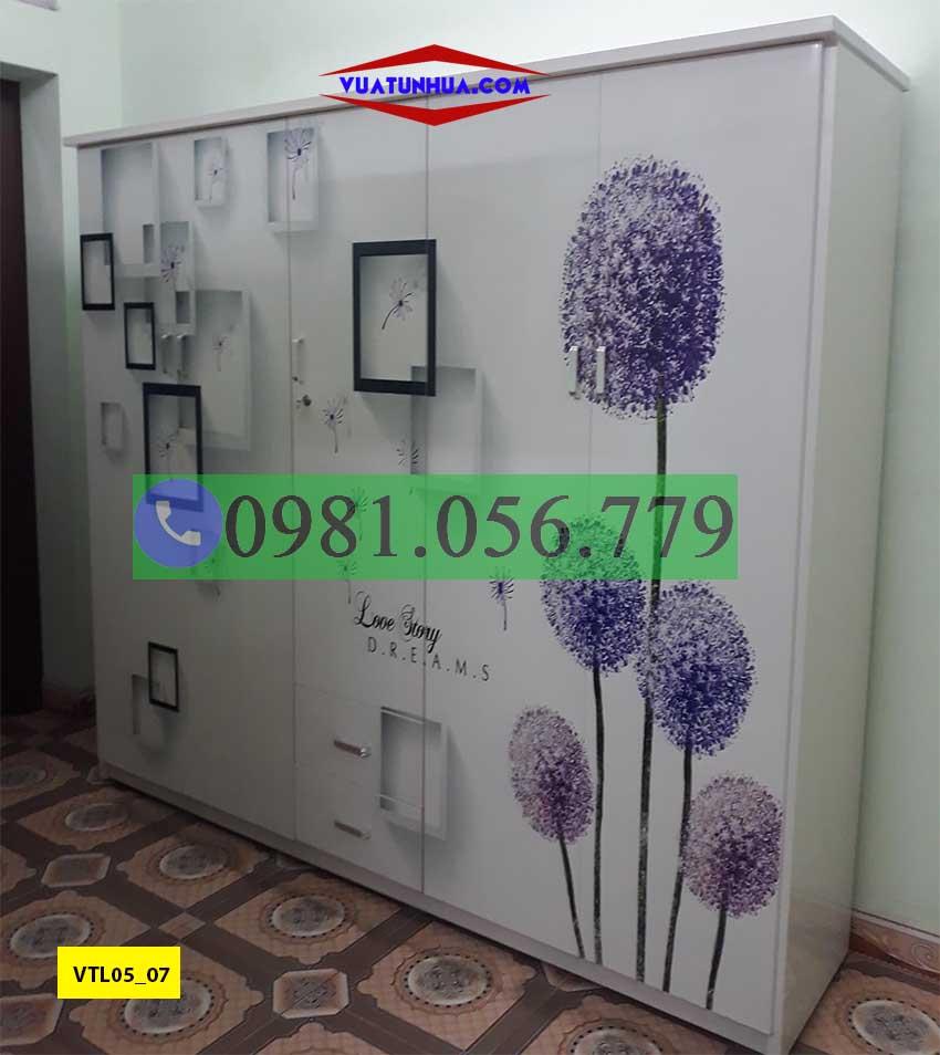 Tủ nhựa đựng quần áo 5 cánh in 3D VTL05_07