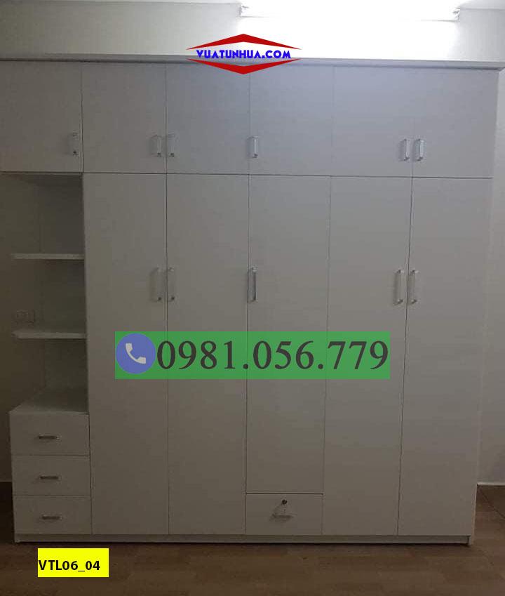 Tủ nhựa đựng quần áo 6 cánh kịch trần nhiều ngăn VTL06_04