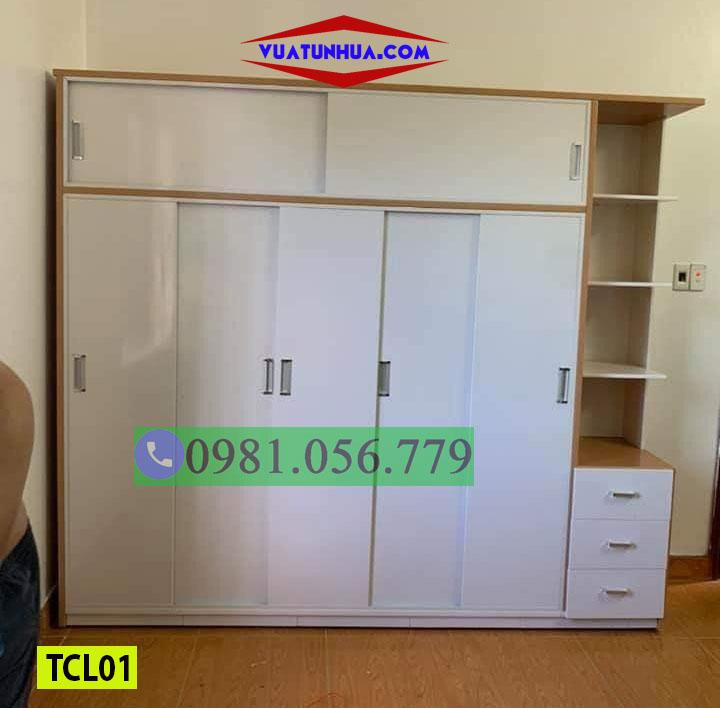 Tủ nhựa quần áo cánh lùa Đài Loan 5 cánh 1 kệ TCL01