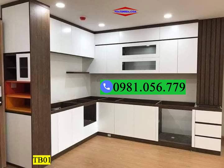 Tủ bếp nhựa góc tường 2 tầng TB01