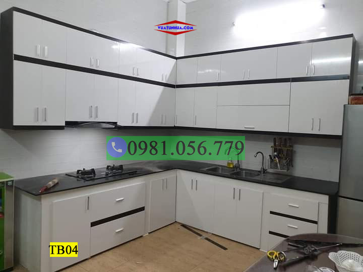 Tủ bếp nhựa góc tường nhiều ngăn TB04
